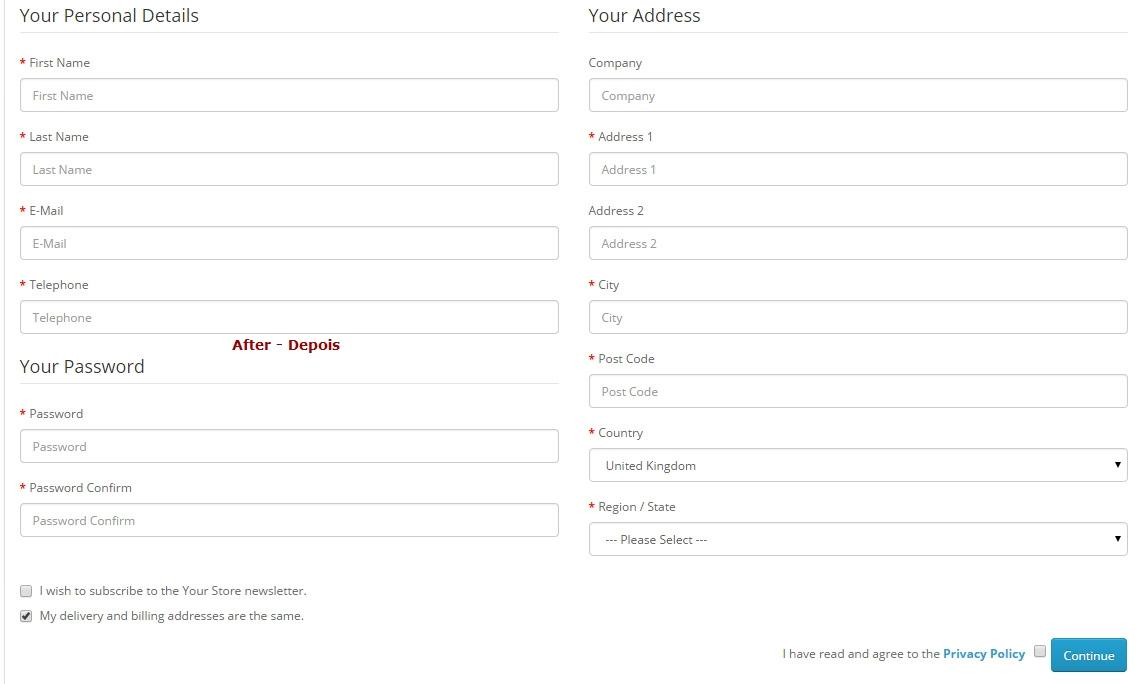 Remover FAX no geral da Loja - Registro, Checkout - Admin: Configurações e Editar Pedidos - Foto 3