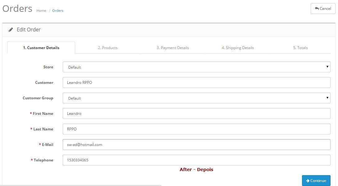Remover FAX no geral da Loja - Registro, Checkout - Admin: Configurações e Editar Pedidos - Foto 5