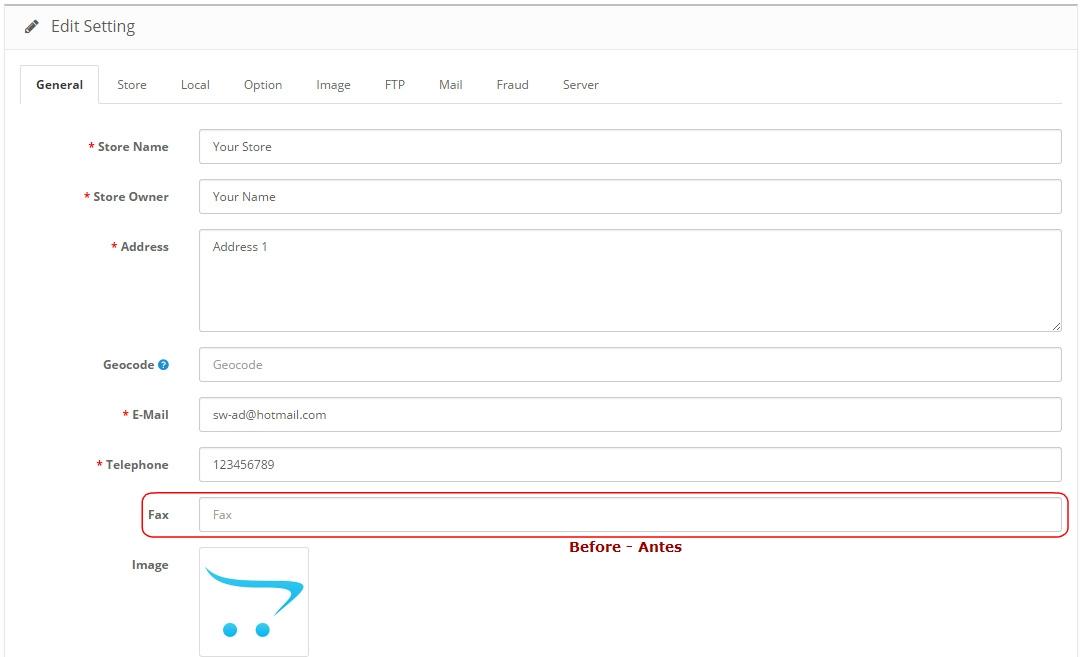 Remover FAX no geral da Loja - Registro, Checkout - Admin: Configurações e Editar Pedidos - Foto 6