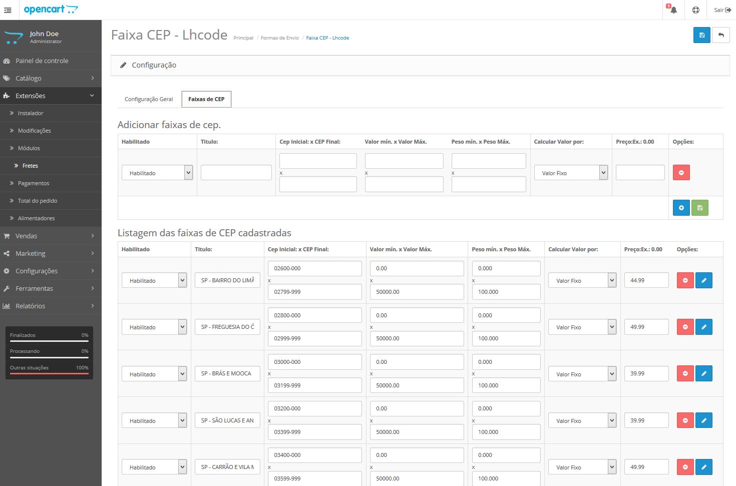 Frete Faixa CEP - Valor min e max, Peso min e max para Opencart - Foto 1
