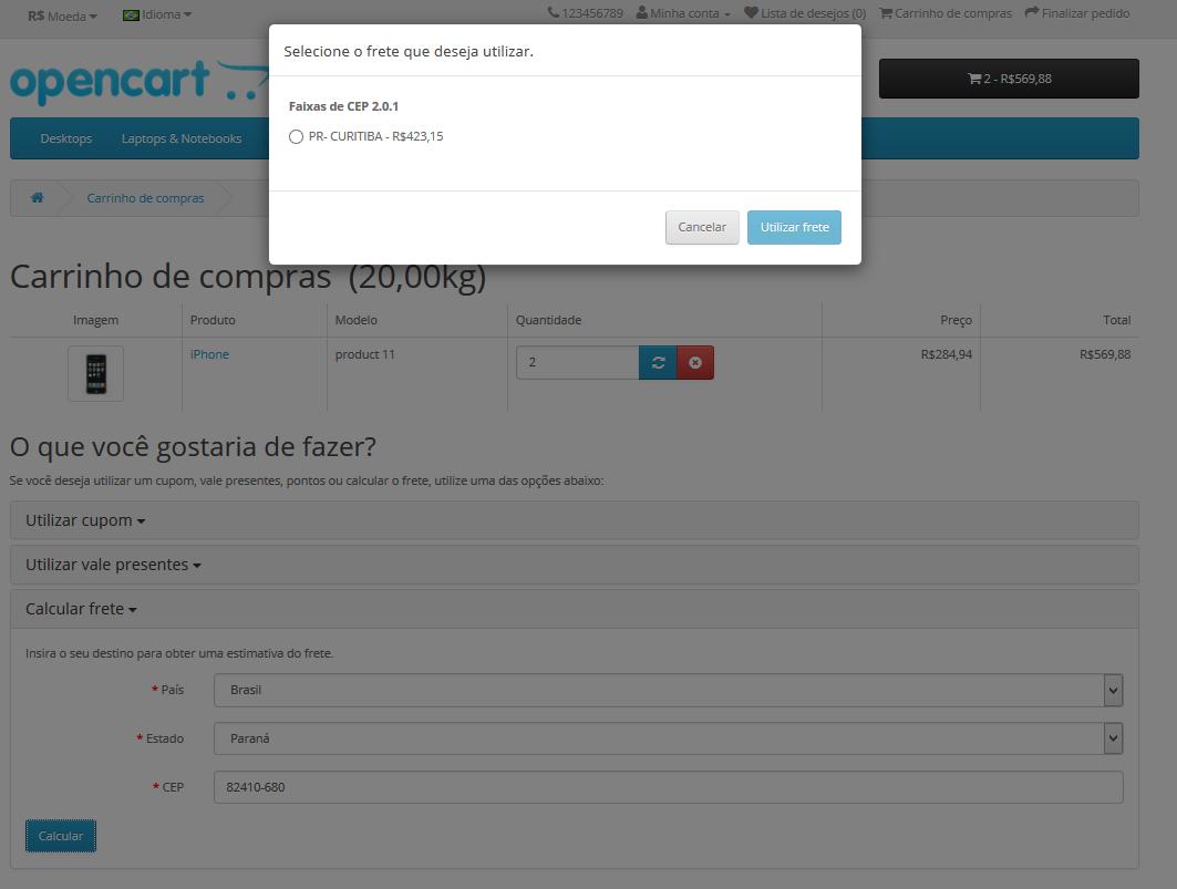 Frete Faixa CEP - Valor min e max, Peso min e max para Opencart - Foto 3