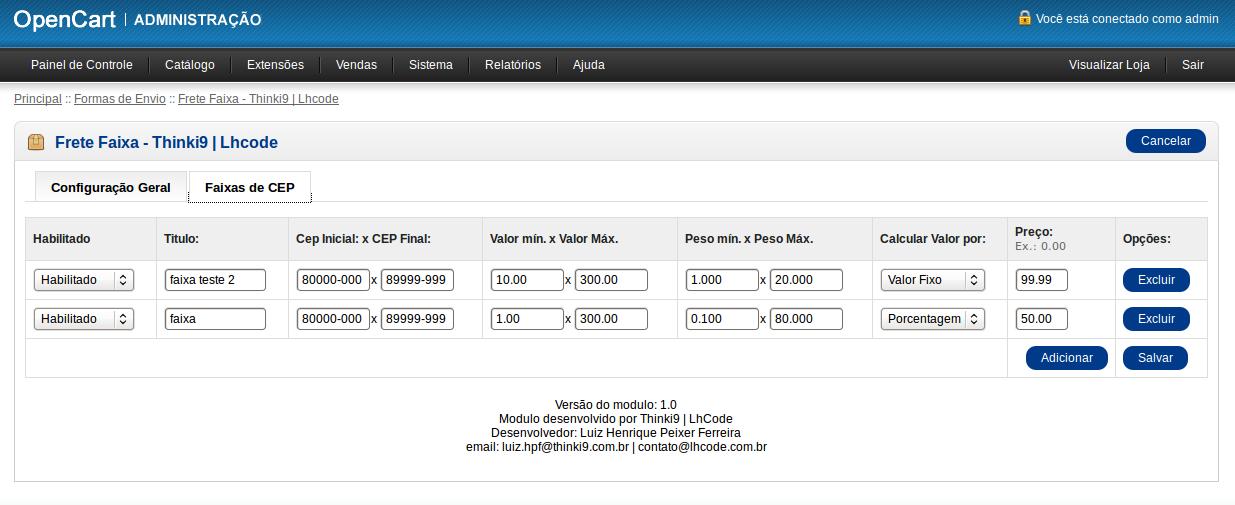 Frete Faixa CEP - Valor min e max, Peso min e max para Opencart - Foto 4