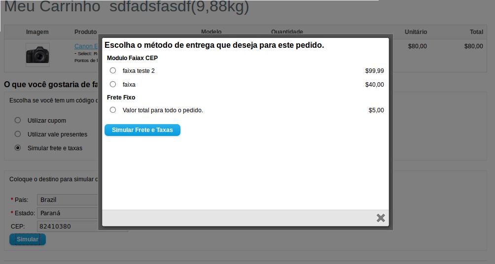 Frete Faixa CEP - Valor min e max, Peso min e max para Opencart - Foto 2