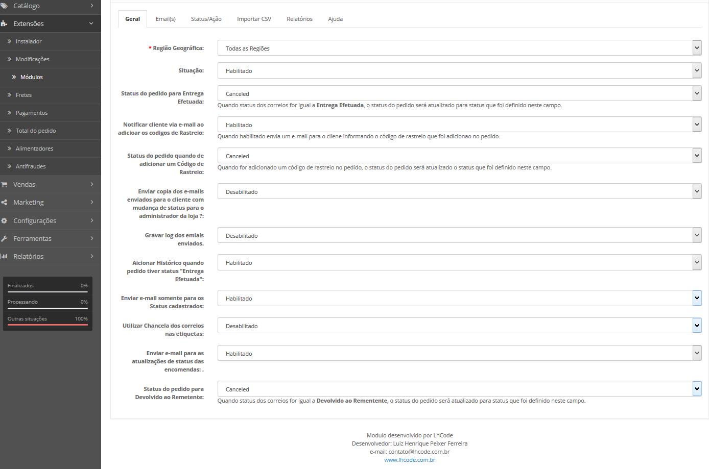 Rastreamento Automático e Etiquetas Correios para Opencart - Foto 9