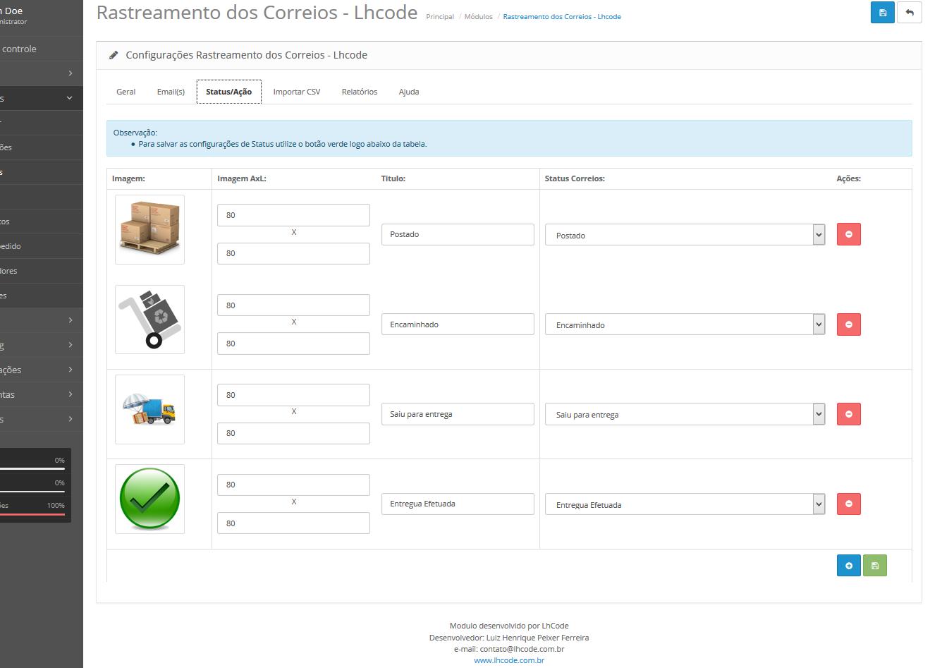 Rastreamento Automático e Etiquetas Correios para Opencart - Foto 20