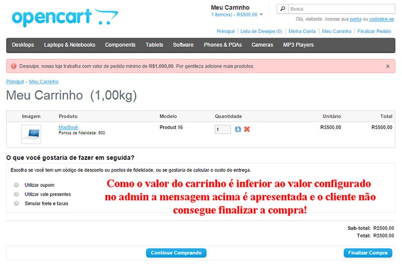 Pedido com valor Mínimo - vQmod para Opencart - Foto 1