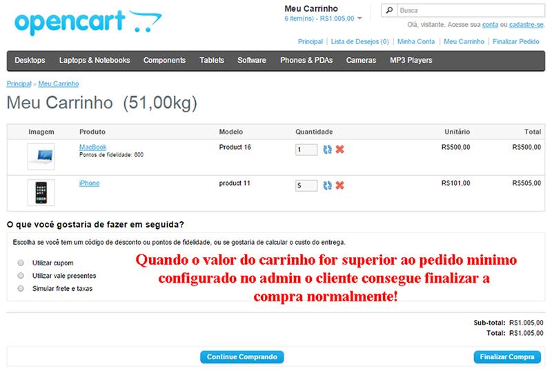 Pedido com valor Mínimo - vQmod para Opencart - Foto 3